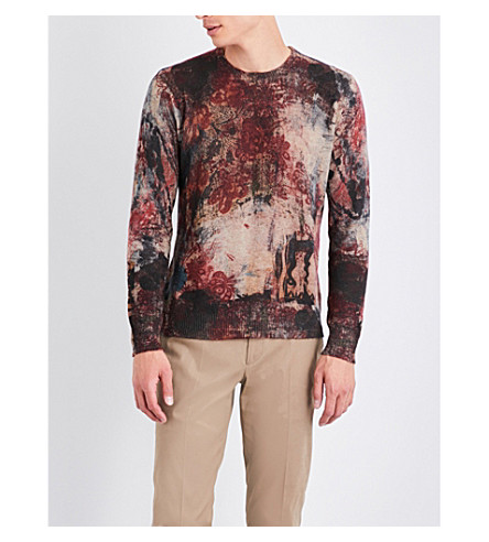 ETRO Floral and paisley-print cashmere jumper (Bordeux