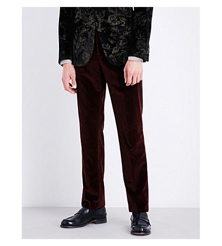 ETRO Cuba slim-fit straight velvet trousers (Borduex