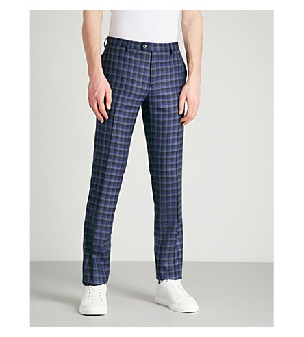 ETRO Panama checked tailored-fit wool trousers (Blue