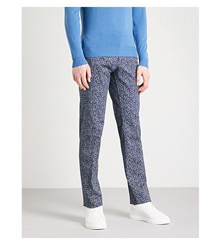 ETRO Panama paisley slim-fit stretch-cotton trousers (Blue