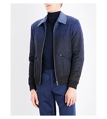 ETRO Dégradé wool-blend Harington jacket (Navy
