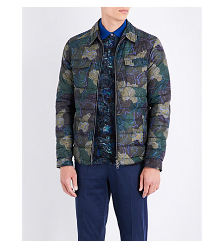 ETRO Quilted shell jacket (Green/bordeux