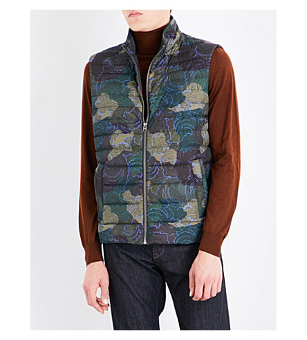 ETRO Camouflage quilted shell gilet (Green/bordeux