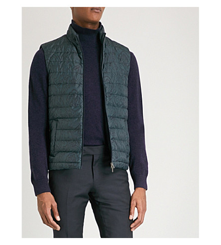 ETRO Paisley shell-down gilet (Green
