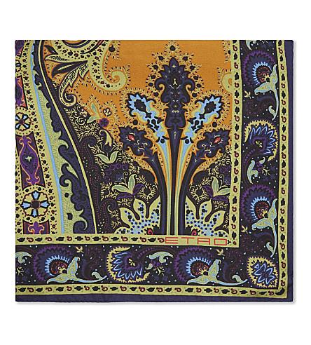 ETRO Paisley print silk pocket square (Fuchsia
