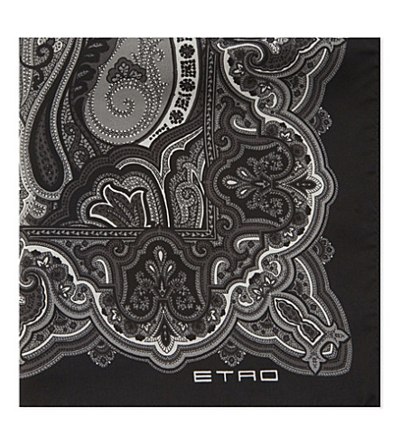 ETRO Paisley print silk pocket square (Black