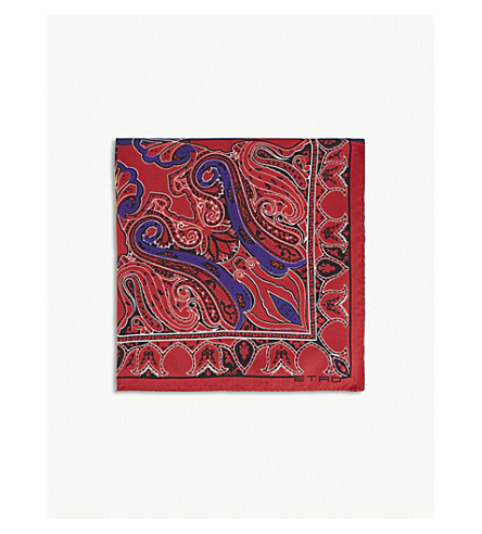 ETRO Quarter-pattern printed silk pocket square (Mutli