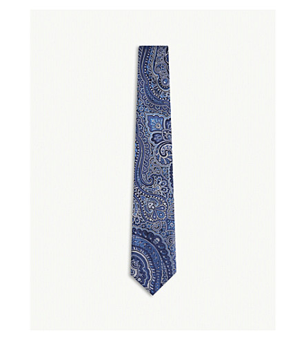 ETRO Paisley combination silk tie (Blue