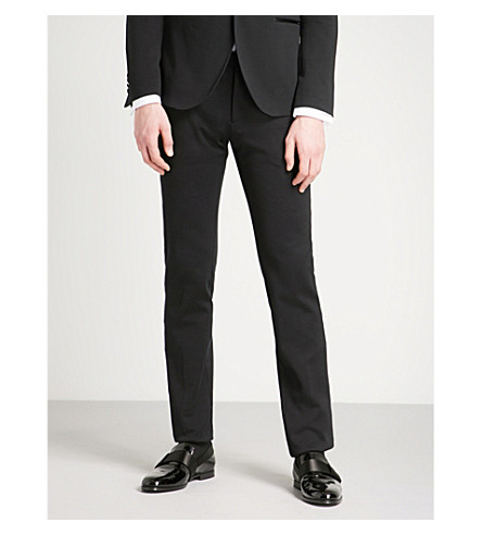 ETRO Regular-fit tapered cotton-jersey tuxedo trousers (Black