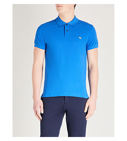 ETRO 修身版型棉何塞普·皮克马球衫 (蓝色