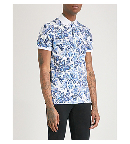 ETRO Floral and paisley-print cotton-piqué polo shirt (White