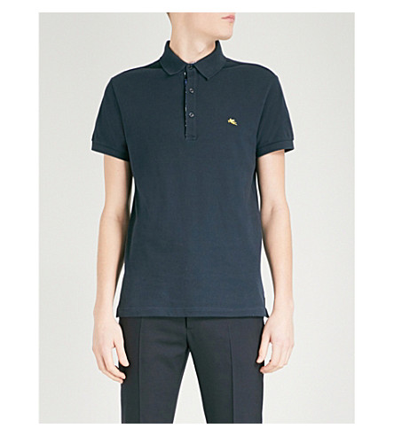 ETRO Paisley-print cotton-piqué polo shirt (Navy