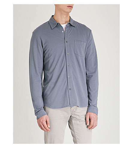 SUNSPEL 长袖棉质珠地布 Polo 衫 (蓝色 + 石板