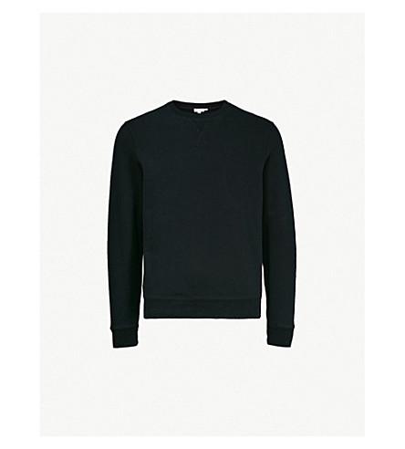 SUNSPEL 圆领平纹针织棉卫衣 (黑色