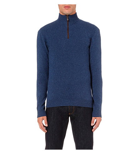 SALVATORE FERRAGAMO Zip-detail cashmere jumper (Blue