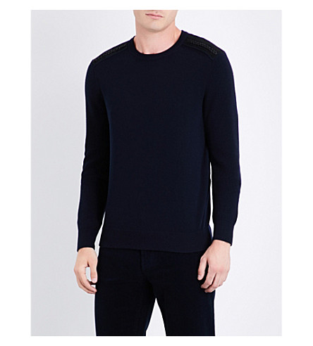 SALVATORE FERRAGAMO Crewneck wool and cashmere-blend jumper (Navy