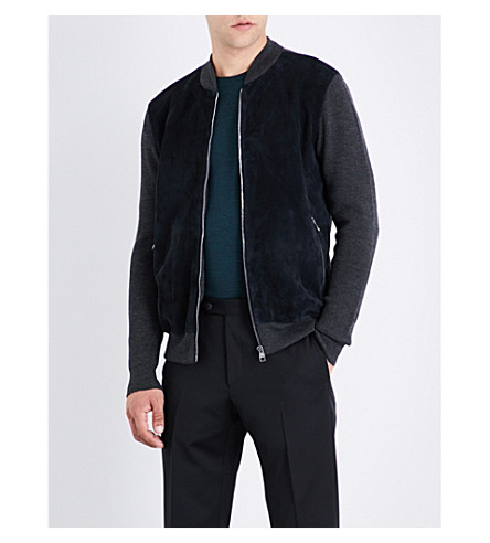 SALVATORE FERRAGAMO Tonal suede bomber jacket (Grey/navy