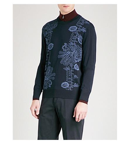 SALVATORE FERRAGAMO Floral-jacquard wool and silk-blend jumper (Navy