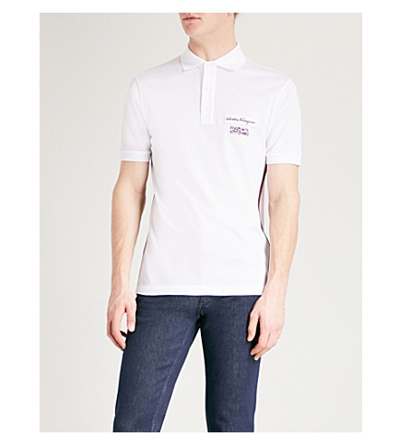 SALVATORE FERRAGAMO Logo-patch cotton-piqué polo shirt (White