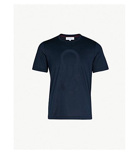 SALVATORE FERRAGAMO Logo-print cotton-jersey T-shirt (Navy