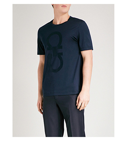 SALVATORE FERRAGAMO Logo-print cotton-jersey T-shirt (Navy