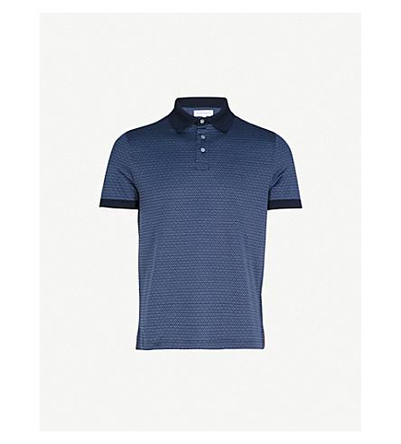 SALVATORE FERRAGAMO 几何打印棉质 Polo 衫 (蓝色