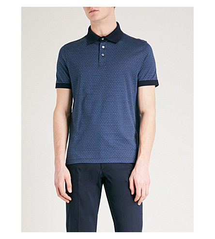 SALVATORE FERRAGAMO Geometric-print cotton polo shirt (Blue