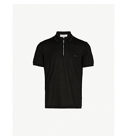 SALVATORE FERRAGAMO Logo-embroidered cotton-piqué polo shirt (Black