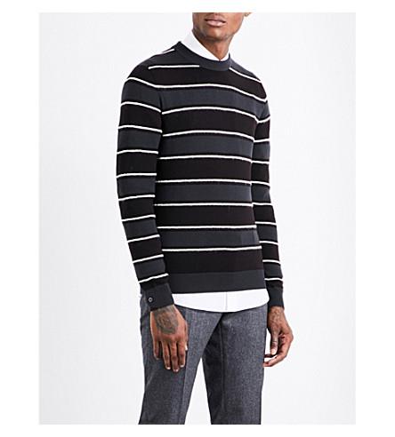 SALVATORE FERRAGAMO Striped wool-blend jumper (Anthracite/aubergine