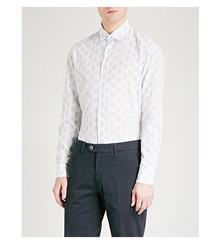 SALVATORE FERRAGAMO Mandala-print slim-fit cotton-jacquard shirt (White