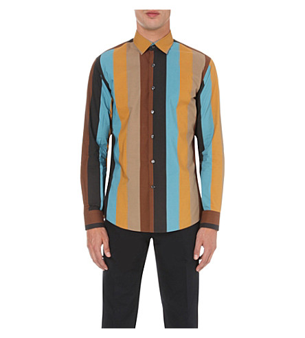SALVATORE FERRAGAMO Multi-striped Derby-fit cotton shirt (Black