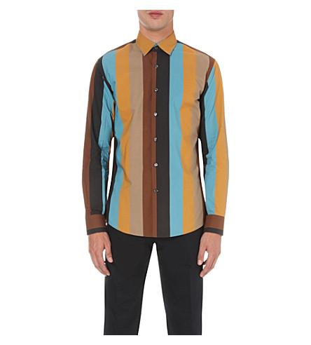 SALVATORE FERRAGAMO Multi-striped Derby-fit cotton shirt (Black