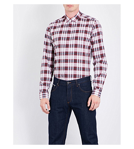 SALVATORE FERRAGAMO Checked slim-fit cotton shirt (Red