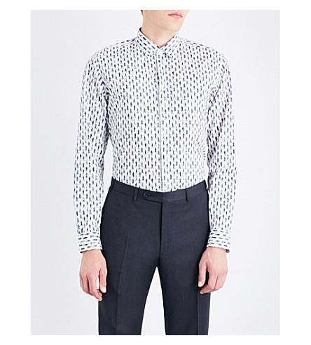 SALVATORE FERRAGAMO Walking men-pattern tailored-fit cotton shirt (White