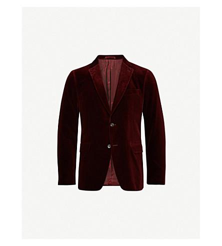SALVATORE FERRAGAMO Slim-fit velvet jacket (Burgundy