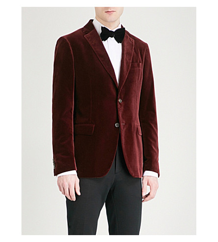 SALVATORE FERRAGAMO Slim-fit velvet jacket (Burgundy