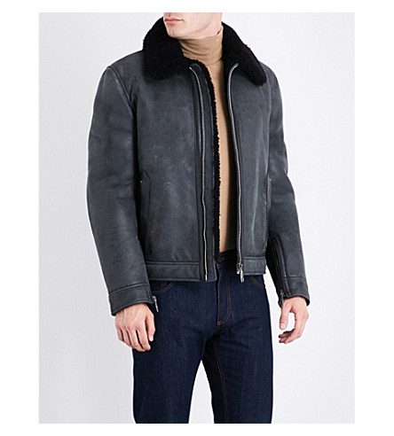 SALVATORE FERRAGAMO Shearling leather jacket (Grey
