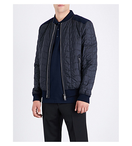 SALVATORE FERRAGAMO Quilted shell bomber jacket (Navy