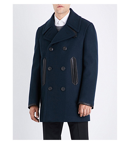 SALVATORE FERRAGAMO Tonal wool and cashmere-blend coat (Navy