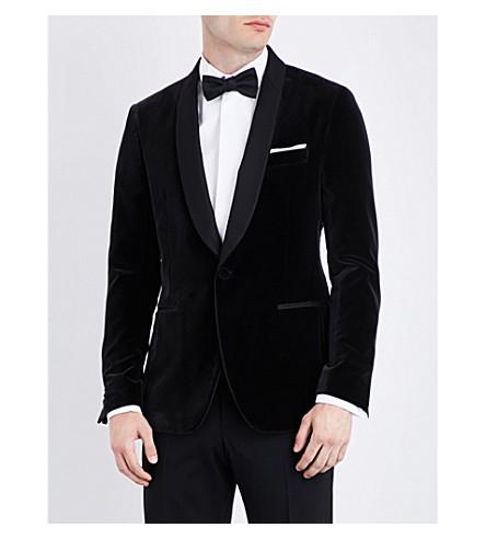 SALVATORE FERRAGAMO Contrast lapel velvet blazer (Black