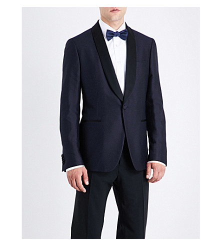 SALVATORE FERRAGAMO Jacquard silk and wool-blend blazer (Navy