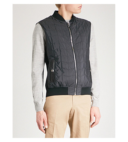 SALVATORE FERRAGAMO Stand-collar quilted shell gilet (Navy