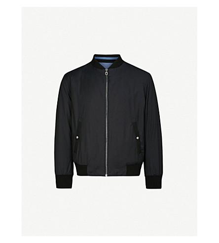 SALVATORE FERRAGAMO Reversible cotton and shell bomber jacket (Blue