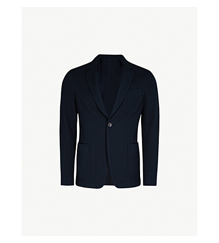 SALVATORE FERRAGAMO Herringbone regular-fit cotton jacket (Navy