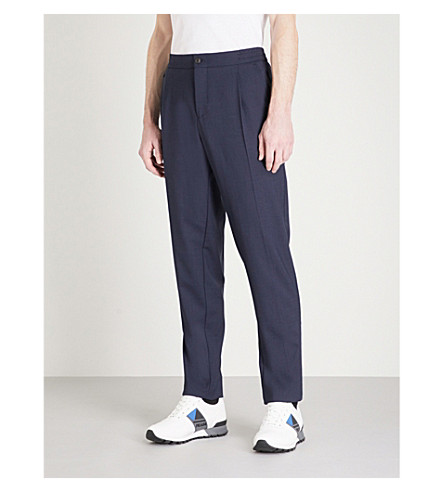 SALVATORE FERRAGAMO Regular-fit stretch-wool trousers (Navy