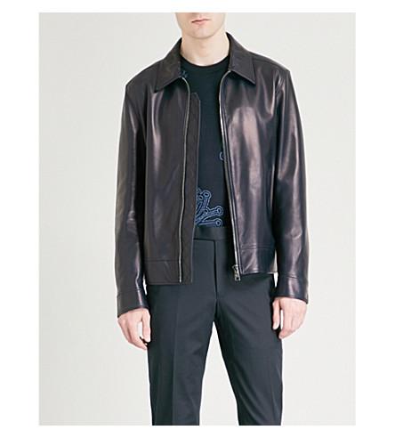 SALVATORE FERRAGAMO Metallic leather jacket (Indigo
