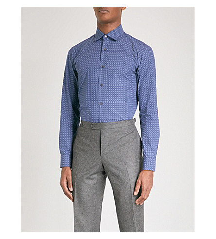 SALVATORE FERRAGAMO Logo-print slim-fit cotton shirt (Blue