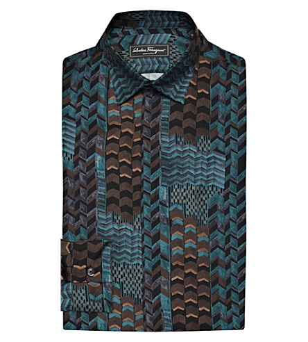 SALVATORE FERRAGAMO Chevron print silk shirt (Blue multi