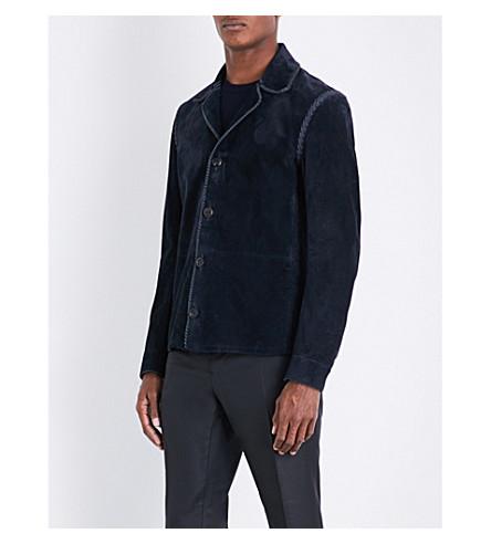SALVATORE FERRAGAMO Regular-fit suede jacket (Blue