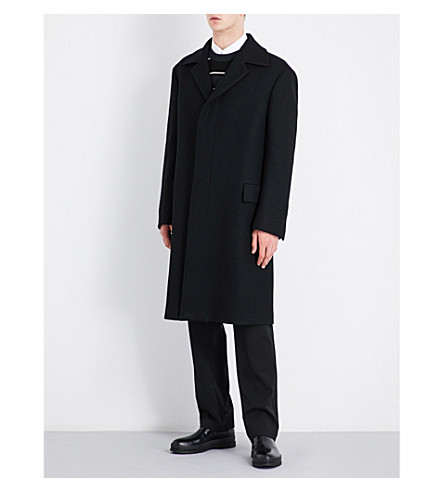 SALVATORE FERRAGAMO Flecked single-breasted wool coat (Black